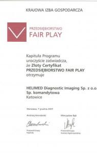 Złoty Certyfikat Fair Play